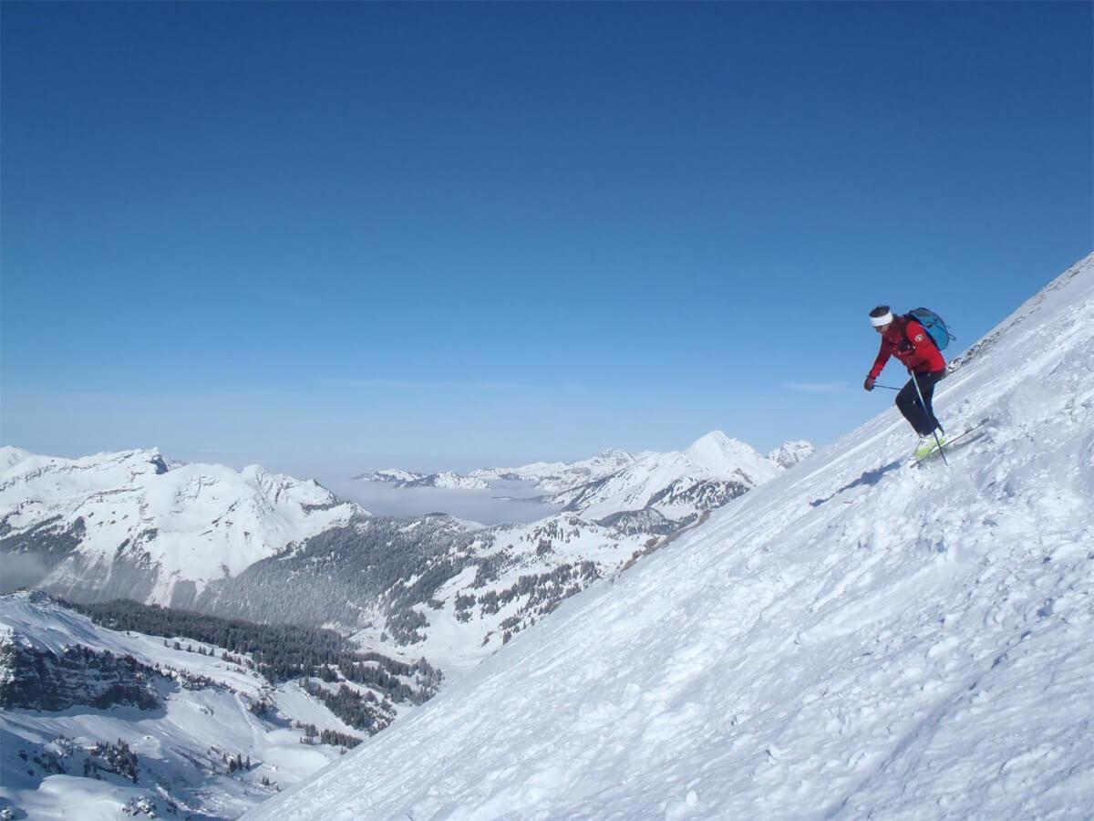 Grand ski en haut des Drobounnes