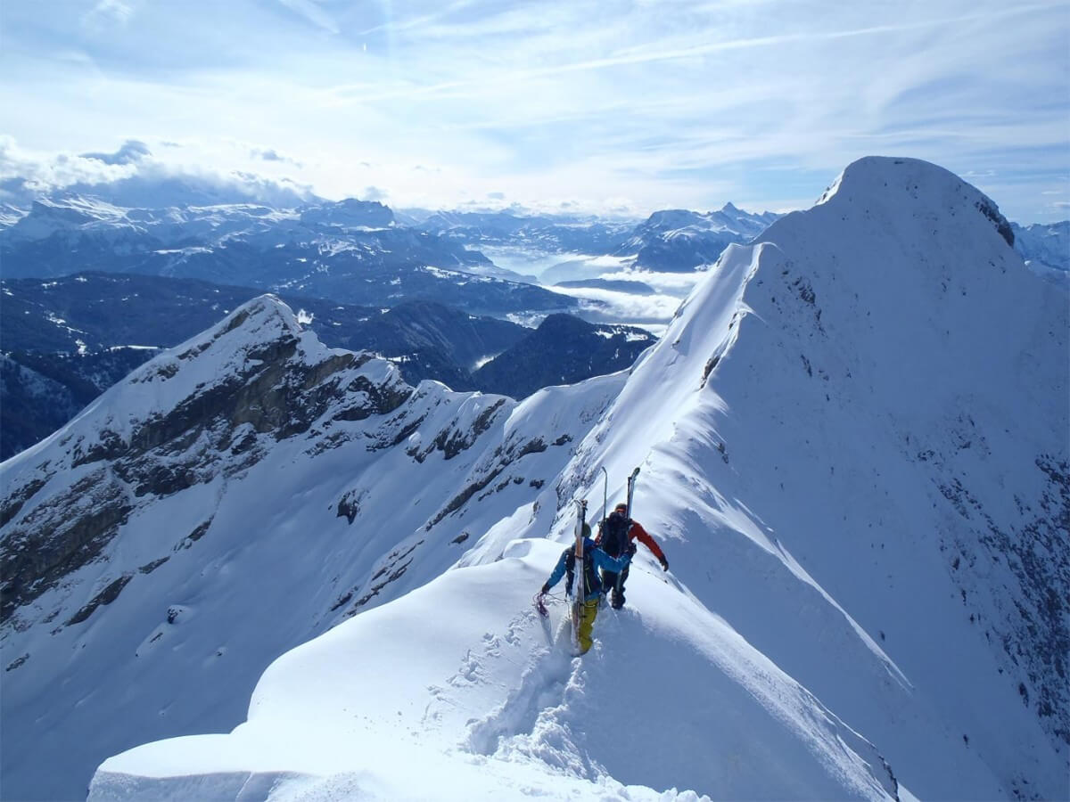 traversée du roc d'Enfer, ski-alpinisme grand angle